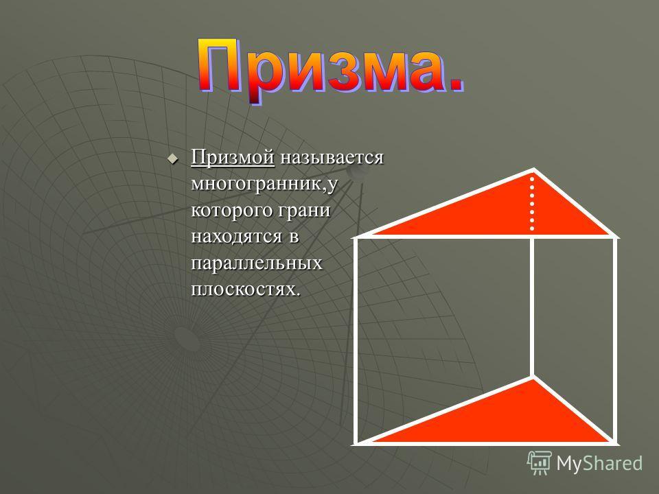 Призмой называется многогранник,у которого грани находятся в параллельных плоскостях. Призмой называется многогранник,у которого грани находятся в параллельных плоскостях.