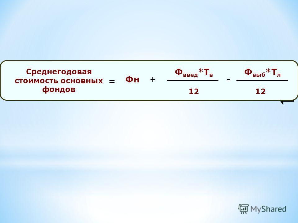 Среднегодовая стоимость основных фондов Ф введ *Т в 12 = Фн- Ф выб *Т л 12 +