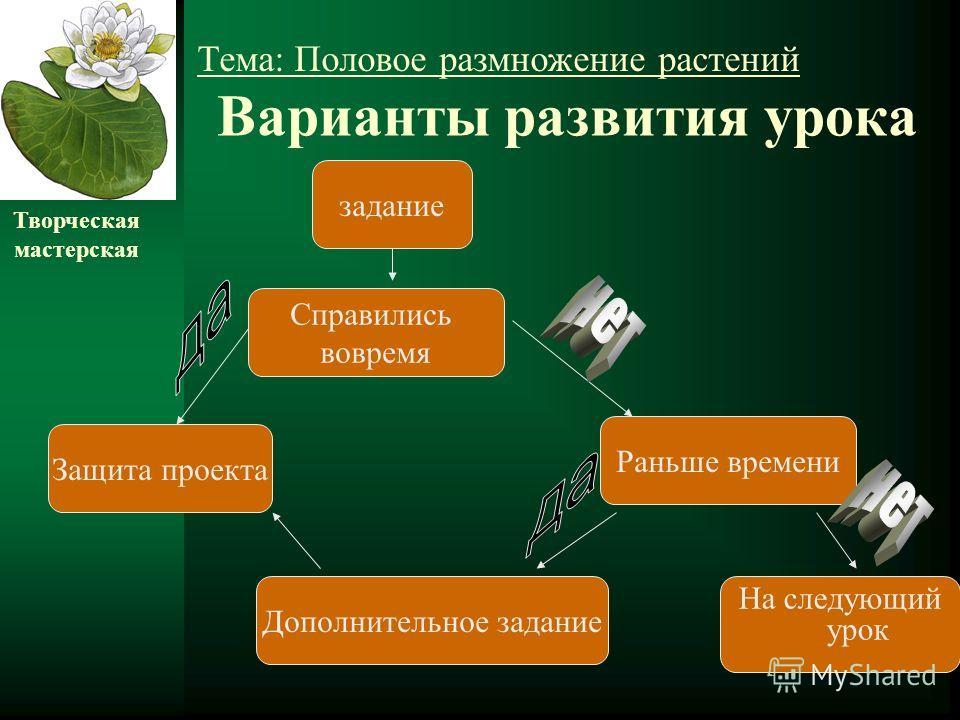 Варианты развития урока На следующий урок задание Раньше времени Справились вовремя Защита проекта Дополнительное задание Творческая мастерская Тема: Половое размножение растений