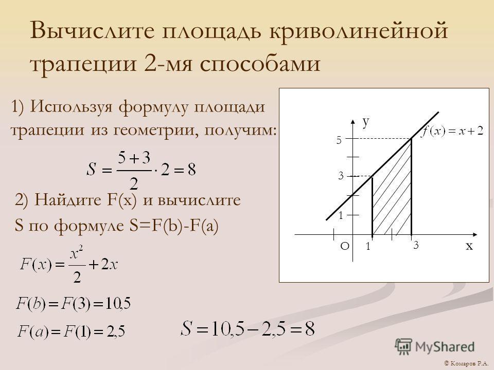 Вычислите площадь криволинейной трапеции 2-мя способами х О у 1 1 5 3 3 1) Используя формулу площади трапеции из геометрии, получим: 2) Найдите F(x) и вычислите S по формуле S=F(b)-F(a) © Комаров Р.А.