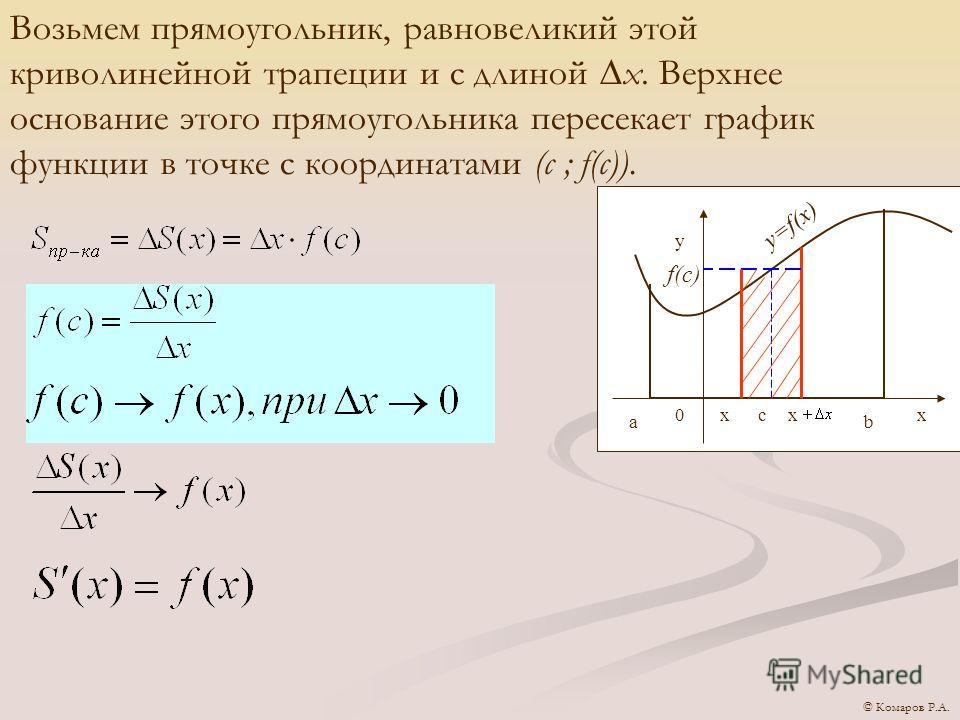 y=f(x) y 0 аb xcxx f(c) Возьмем прямоугольник, равновеликий этой криволинейной трапеции и с длиной х. Верхнее основание этого прямоугольника пересекает график функции в точке с координатами (с ; f(c)). © Комаров Р.А.