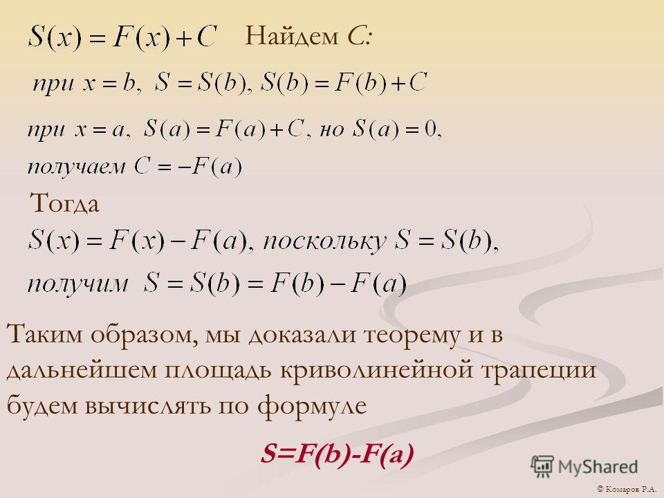 Найдем С: Тогда Таким образом, мы доказали теорему и в дальнейшем площадь криволинейной трапеции будем вычислять по формуле S=F(b)-F(a) © Комаров Р.А.