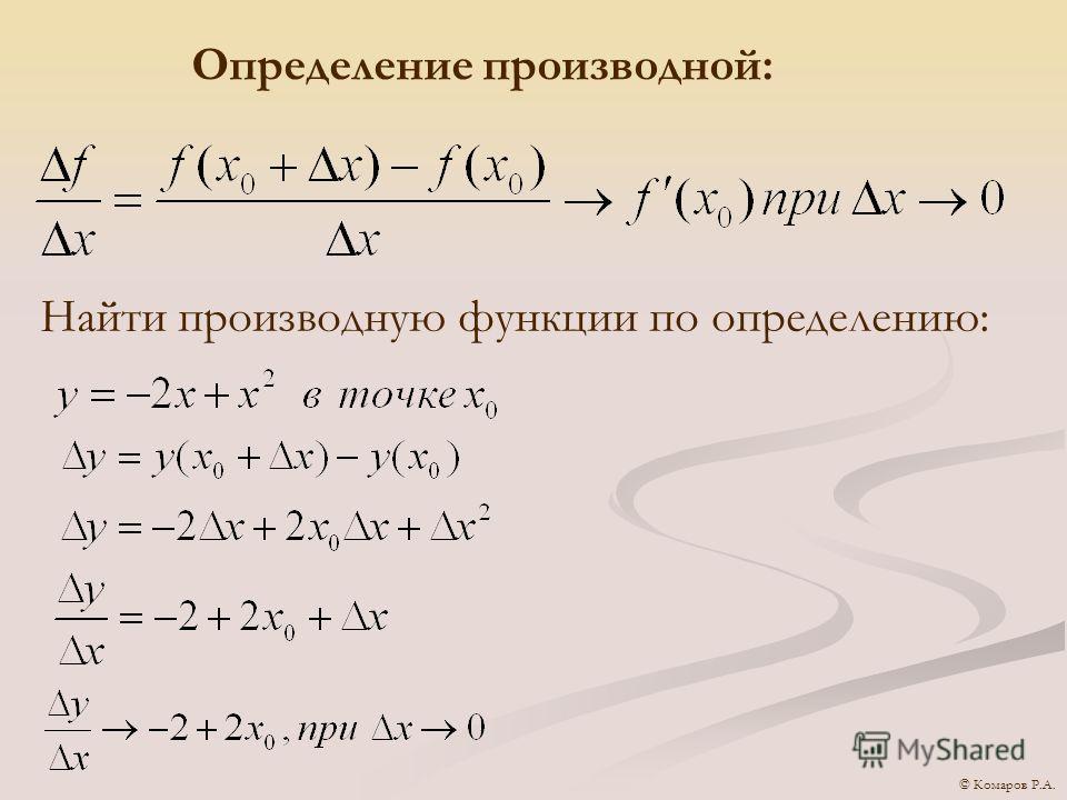 Определение производной: Найти производную функции по определению: © Комаров Р.А.