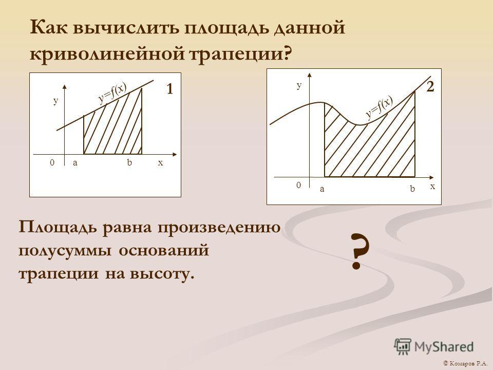 Как вычислить площадь данной криволинейной трапеции? y=f(x) y 0аbx 1 аb x y 0 2 Площадь равна произведению полусуммы оснований трапеции на высоту. ? © Комаров Р.А.