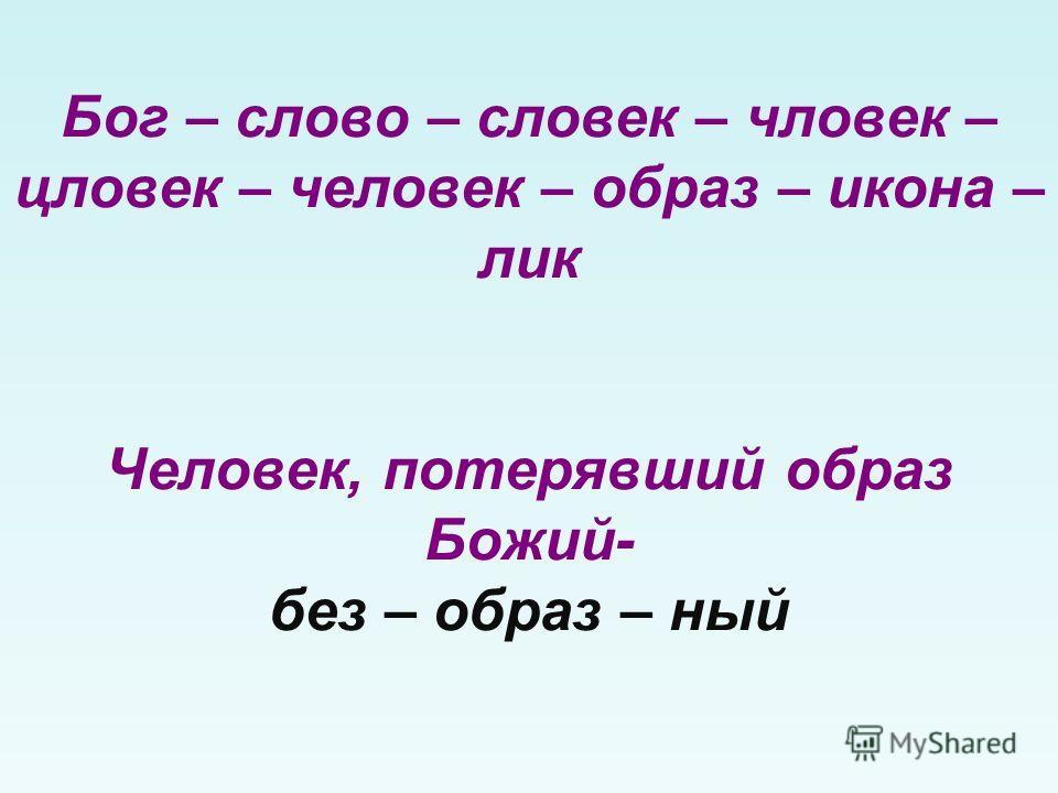 Бог – слово – словек – чловек – цловек – человек – образ – икона – лик Человек, потерявший образ Божий- без – образ – ный