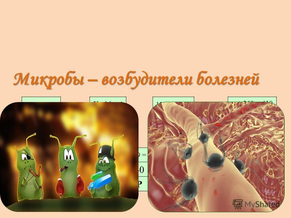 а 5 = 200 3 М 60 – с = 24 10 И 120 : d = 12 36 К Х : 16 = 4 50 О 42 : y = 14 57 Б n + 360 = 410 64 Ы t – 29 = 28 40 Р Микробы – возбудители болезней