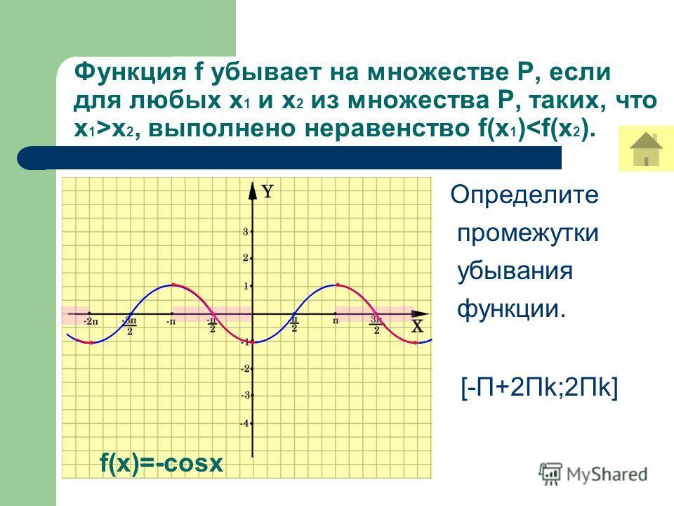 Функция f убывает на множестве Р, если для любых х 1 и х 2 из множества Р, таких, что х 1 >х 2, выполнено неравенство f(x 1 )