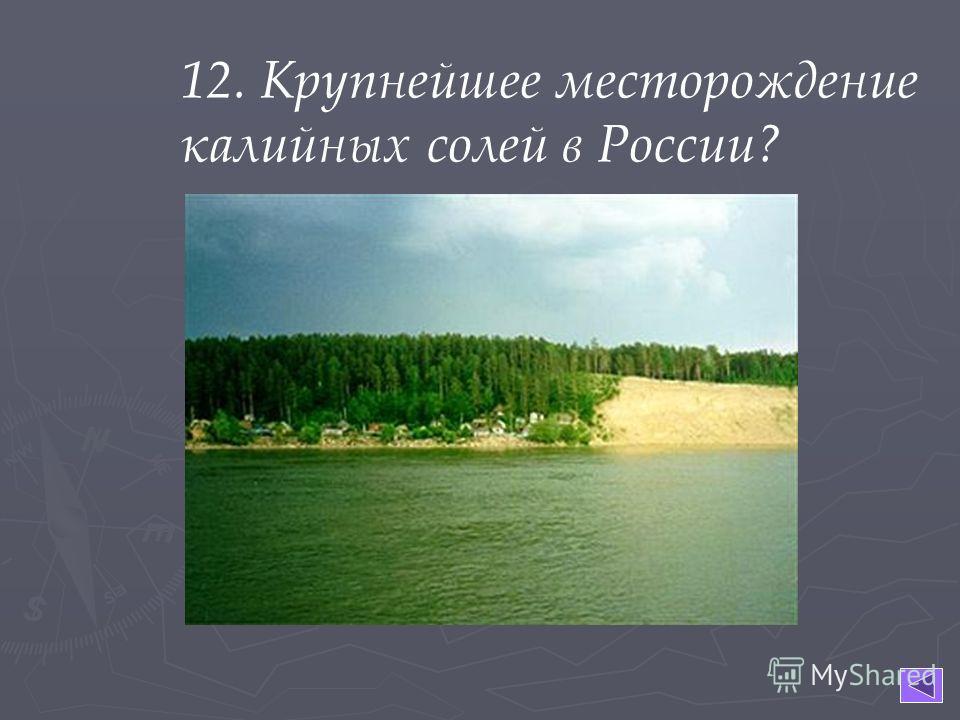 12. Крупнейшее месторождение калийных солей в России?