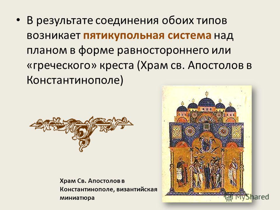 В результате соединения обоих типов возникает пятикупольная система над планом в форме равностороннего или «греческого» креста (Храм св. Апостолов в Константинополе) Храм Св. Апостолов в Константинополе, византийская миниатюра