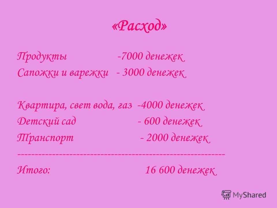 «Расход» Продукты -7000 денежек Сапожки и варежки - 3000 денежек Квартира, свет вода, газ -4000 денежек Детский сад - 600 денежек Транспорт - 2000 денежек ------------------------------------------------------------ Итого: 16 600 денежек