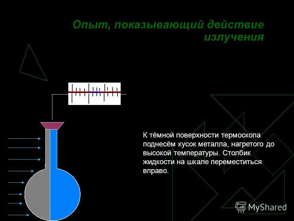 3.Излучение Процесс передачи тепла с помощью невидимых глазом лучей.