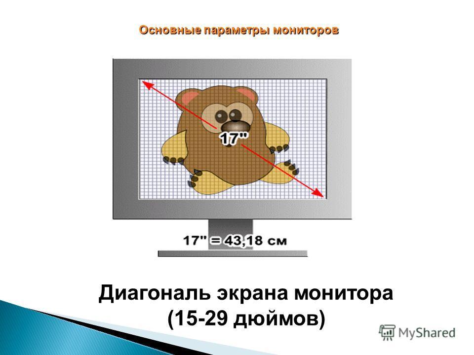 Основные параметры мониторов Диагональ экрана монитора (15-29 дюймов)