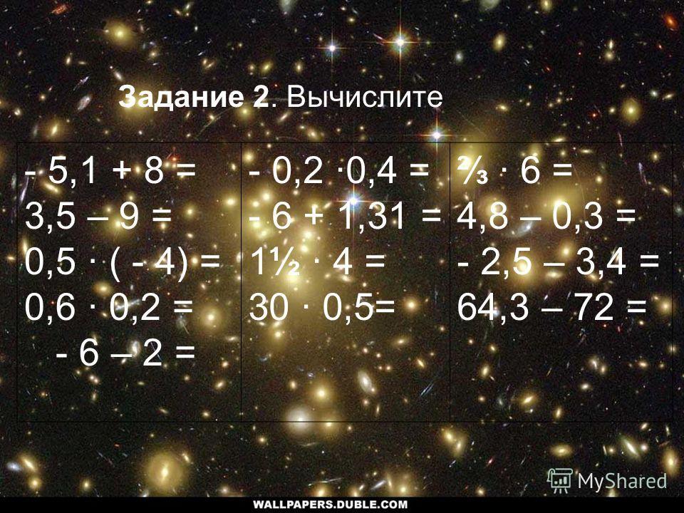 Задание 2. Вычислите - 5,1 + 8 = 3,5 – 9 = 0,5 · ( - 4) = 0,6 · 0,2 = - 6 – 2 = - 0,2 ·0,4 = - 6 + 1,31 = 1½ 4 = 30 0,5= · 6 = 4,8 – 0,3 = - 2,5 – 3,4 = 64,3 – 72 =