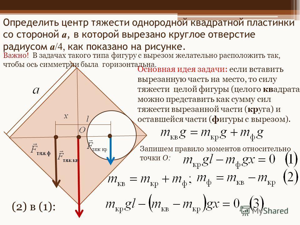 Определить центр тяжести однородной квадратной пластинки со стороной a, в которой вырезано круглое отверстие радиусом a/4, как показано на рисунке. Основная идея задачи: если вставить вырезанную часть на место, то силу тяжести целой фигуры (целого кв