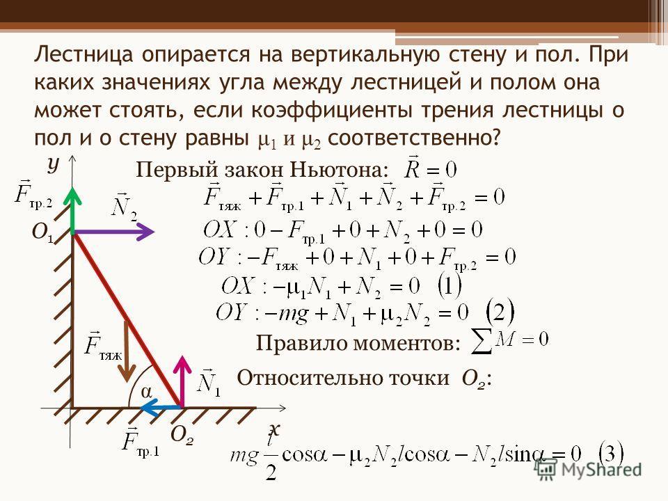 О1О1 О2О2 x y Лестница опирается на вертикальную стену и пол. При каких значениях угла между лестницей и полом она может стоять, если коэффициенты трения лестницы о пол и о стену равны μ 1 и μ 2 соответственно? Первый закон Ньютона: Правило моментов: