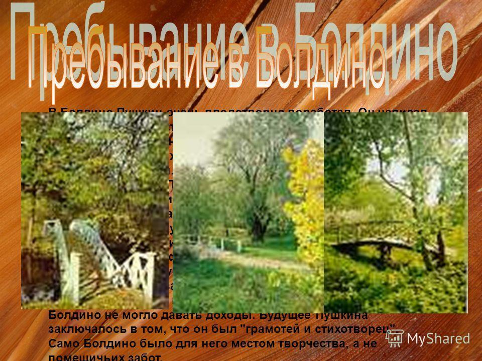 В Болдино Пушкин очень плодотворно поработал. Он написал около четырех сот стихов, 8-ю, 9-ю и 10-ю главы