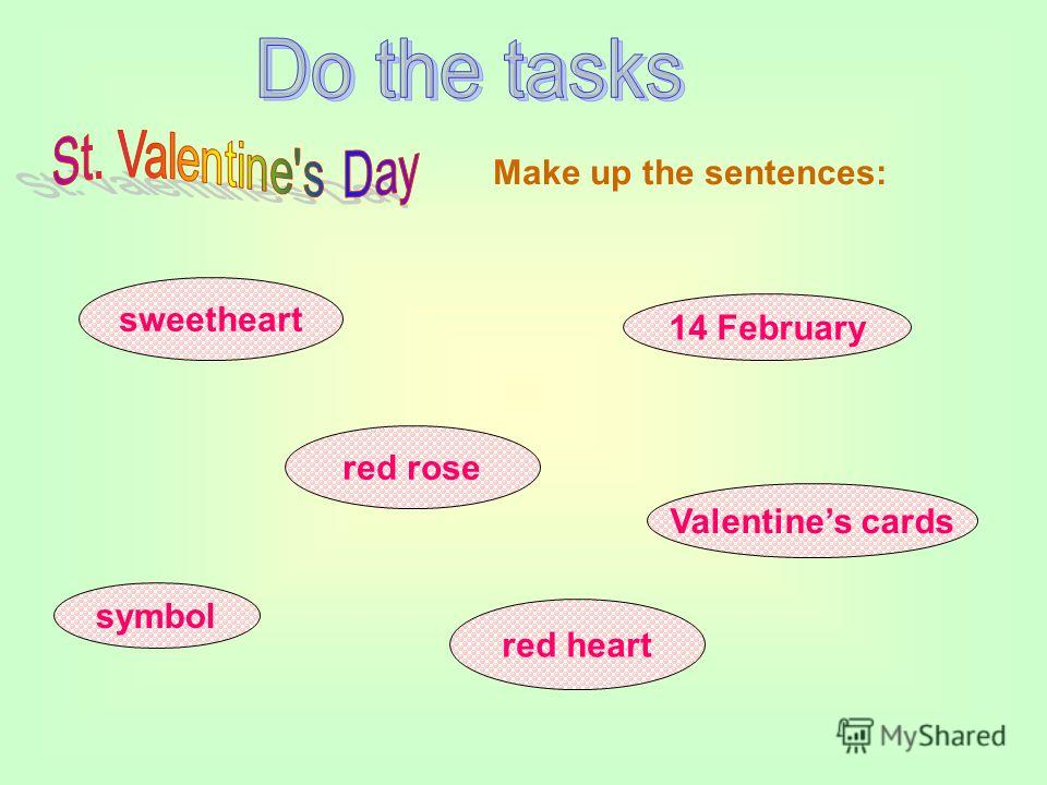 sweetheart red rose red heart symbol 14 February Valentines cards Make up the sentences: