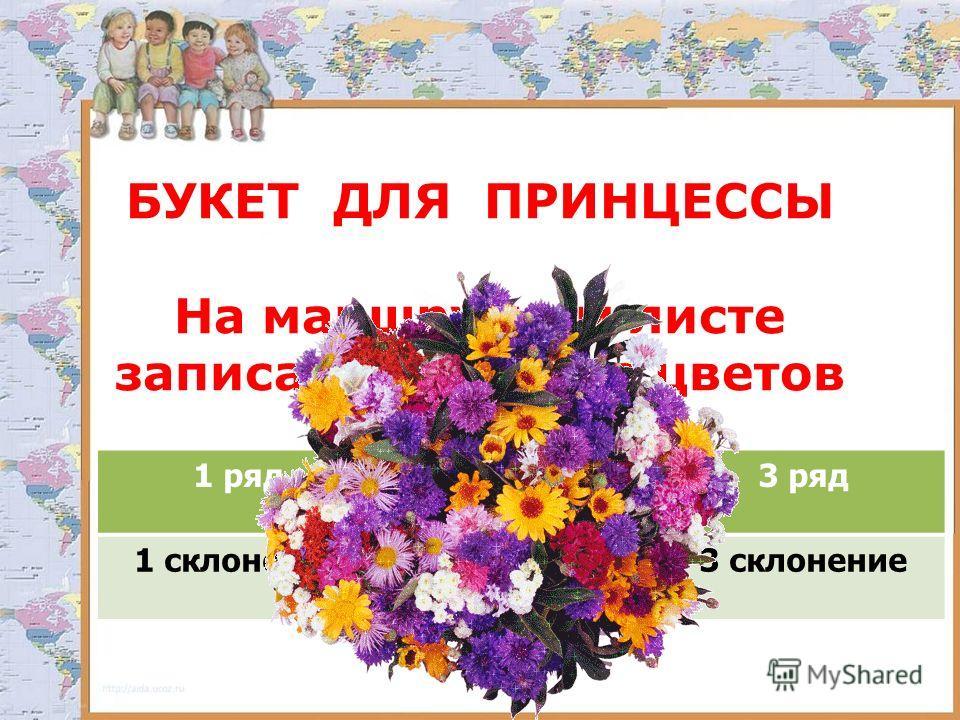БУКЕТ ДЛЯ ПРИНЦЕССЫ На маршрутном листе записать название цветов 1 ряд2 ряд3 ряд 1 склонение2 склонение3 склонение