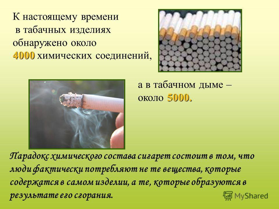 Парадокс химического состава сигарет состоит в том, что люди фактически потребляют не те вещества, которые содержатся в самом изделии, а те, которые образуются в результате его сгорания. К настоящему времени в табачных изделиях обнаружено около 4000