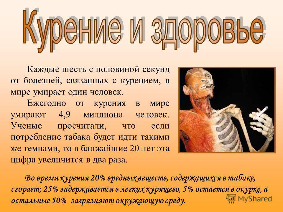 Во время курения 20% вредных веществ, содержащихся в табаке, сгорает; 25% задерживается в легких курящего, 5% остается в окурке, а остальные 50% загрязняют окружающую среду. Каждые шесть с половиной секунд от болезней, связанных с курением, в мире ум