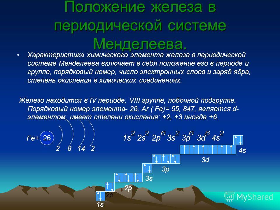 Положение железа в периодической системе Менделеева. Характеристика химического элемента железа в периодической системе Менделеева включает в себя положение его в периоде и группе, порядковый номер, число электронных слоев и заряд ядра, степень окисл