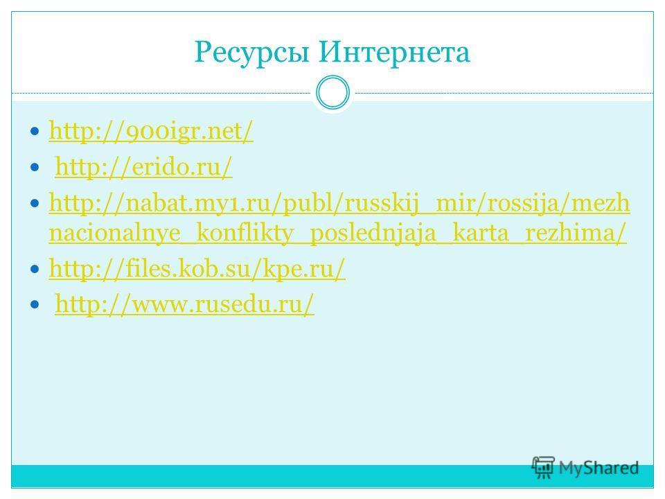 Ресурсы Интернета http://900igr.net/ http://erido.ru/ http://nabat.my1.ru/publ/russkij_mir/rossija/mezh nacionalnye_konflikty_poslednjaja_karta_rezhima/ http://nabat.my1.ru/publ/russkij_mir/rossija/mezh nacionalnye_konflikty_poslednjaja_karta_rezhima