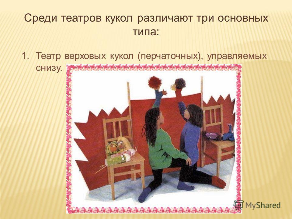 Среди театров кукол различают три основных типа: 1.Театр верховых кукол (перчаточных), управляемых снизу.