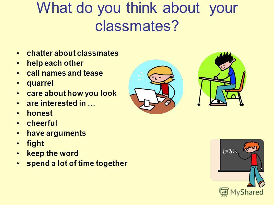 What do you think about your classmates? chatter about classmates help each other call names and tease quarrel care about how you look are interested in … honest cheerful have arguments fight keep the word spend a lot of time together