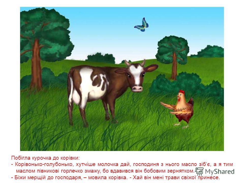 Злякалася курочка, побігла до господині, та й гукає: - Ой, господине, швидше дай масельця, півникові горлечко змастити, бо вдавився він бобовим зернятком. - Біжи швидше до корівки, - відказала господиня, - проси в неї молока, щоб було з чого масло зб