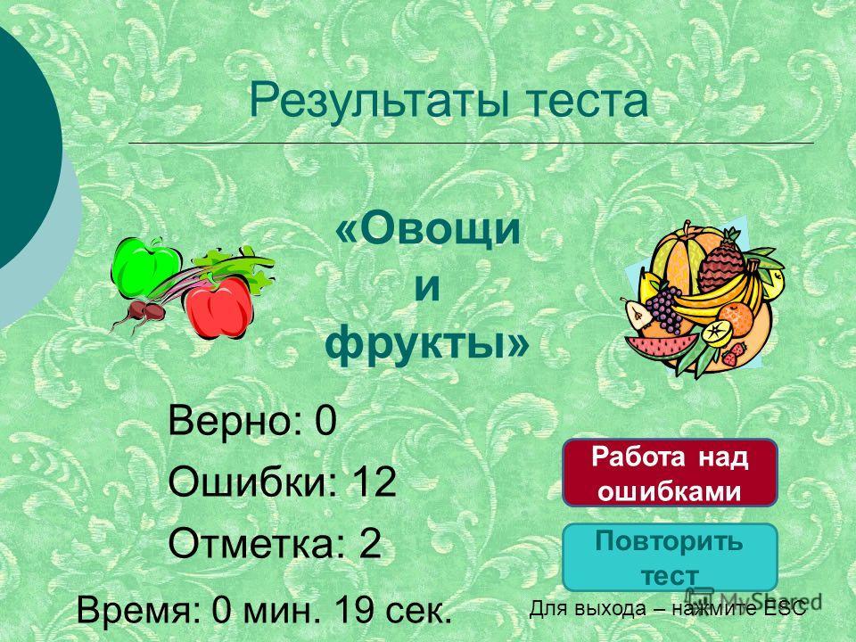 Результаты теста Верно: 0 Ошибки: 12 Отметка: 2 Время: 0 мин. 19 сек. Повторить тест Работа над ошибками Для выхода – нажмите ESC «Овощи и фрукты»