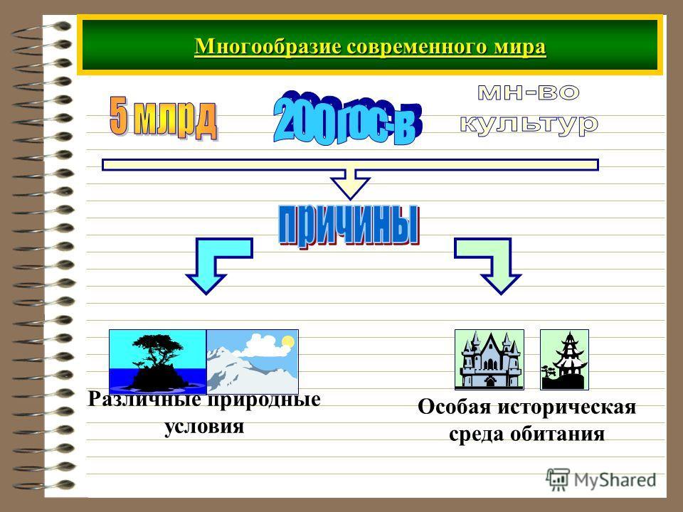 Многообразие современного мира Особая историческая среда обитания Различные природные условия