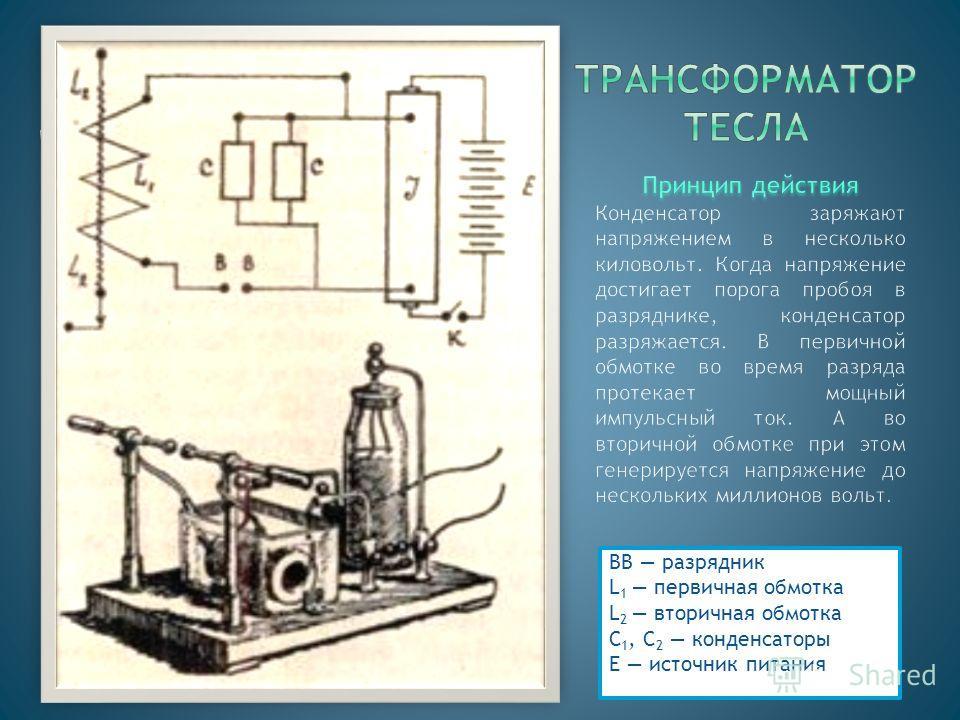 ВВ разрядник L 1 первичная обмотка L 2 вторичная обмотка С 1, C 2 конденсаторы Е источник питания