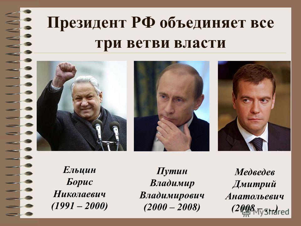 Президент РФ объединяет все три ветви власти Ельцин Борис Николаевич (1991 – 2000) Путин Владимир Владимирович (2000 – 2008) Медведев Дмитрий Анатольевич (2008 – …)