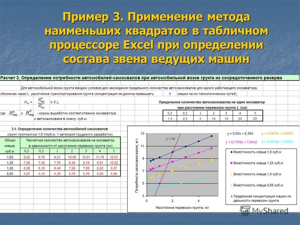 Пример 3. Применение метода наименьших квадратов в табличном процессоре Excel при определении состава звена ведущих машин