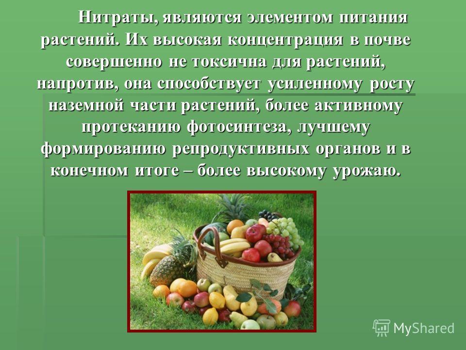 Нитраты, являются элементом питания растений. Их высокая концентрация в почве совершенно не токсична для растений, напротив, она способствует усиленному росту наземной части растений, более активному протеканию фотосинтеза, лучшему формированию репро