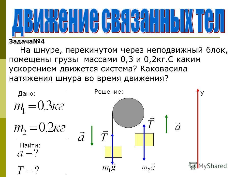 Задача4 На шнуре, перекинутом через неподвижный блок, помещены грузы массами 0,3 и 0,2кг.С каким ускорением движется система? Каковасила натяжения шнура во время движения? Дано: Найти: Решение: У