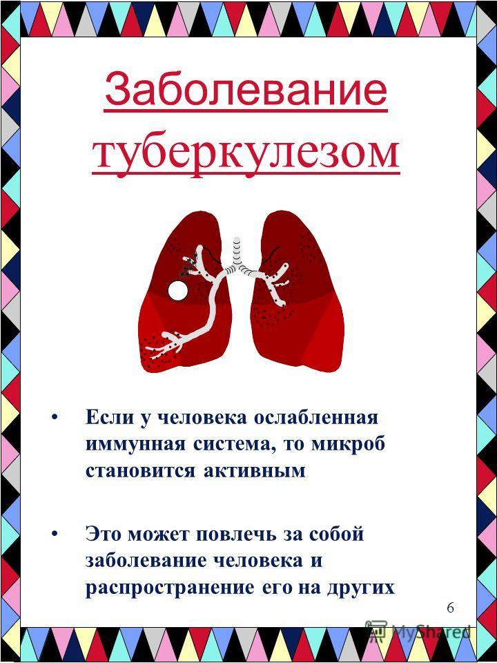 Заболевание туберкулезом Если у человека ослабленная иммунная система, то микроб становится активным Это может повлечь за собой заболевание человека и