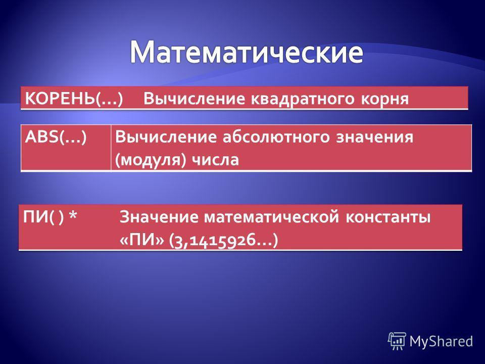 ABS(...)Вычисление абсолютного значения (модуля) числа