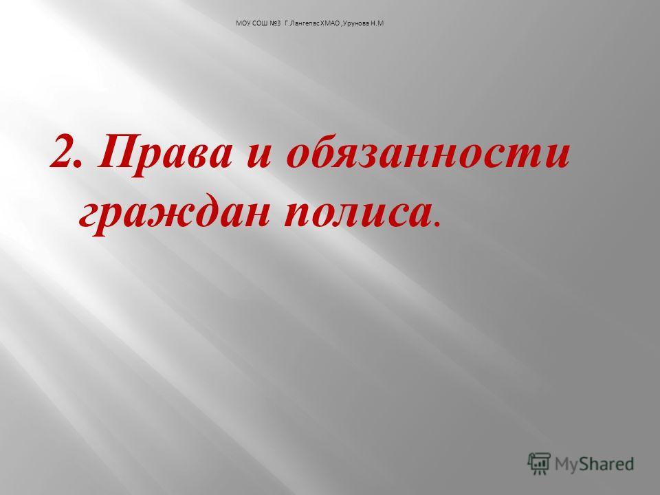 2. Права и обязанности граждан полиса. МОУ СОШ 3 Г.Лангепас ХМАО,Урунова Н.М