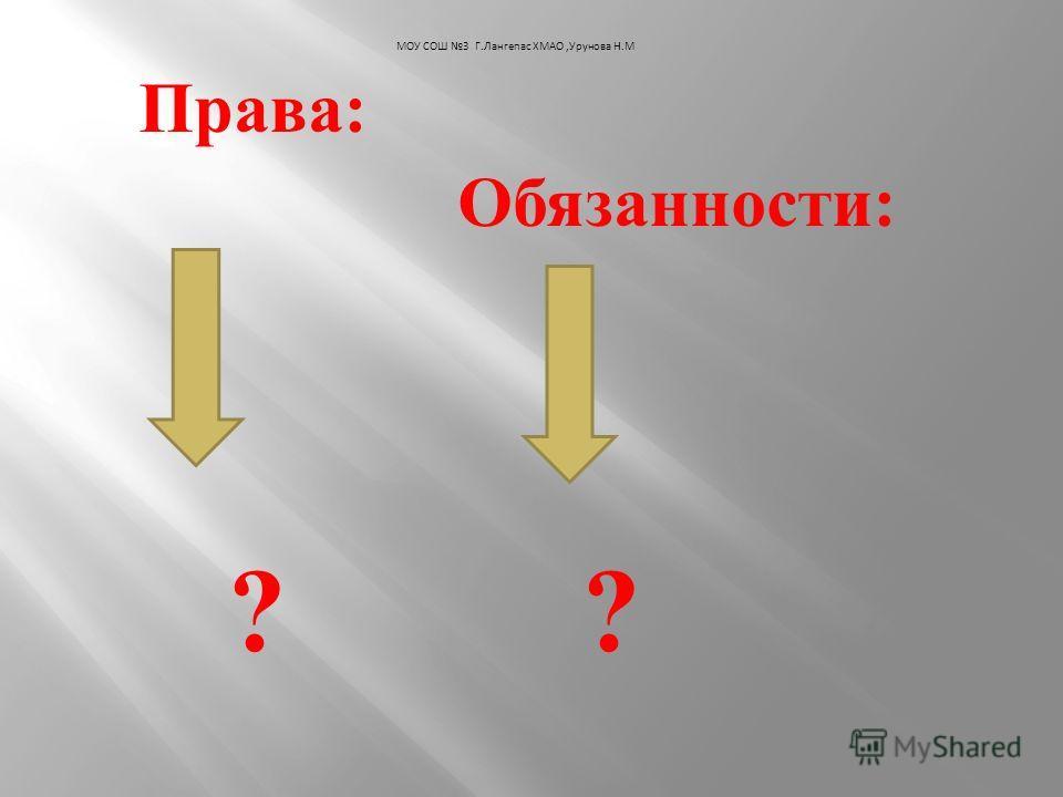 Права : Обязанности : ? ? МОУ СОШ 3 Г.Лангепас ХМАО,Урунова Н.М