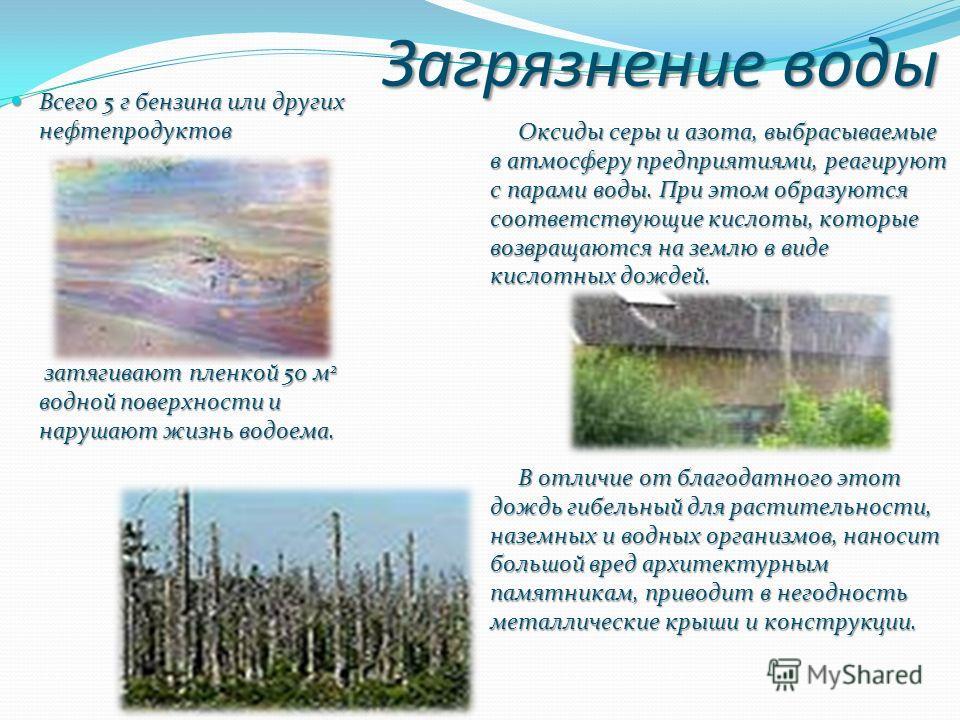 Загрязнение воды Всего 5 г бензина или других нефтепродуктов Всего 5 г бензина или других нефтепродуктов затягивают пленкой 50 м 2 водной поверхности и нарушают жизнь водоема. затягивают пленкой 50 м 2 водной поверхности и нарушают жизнь водоема. Окс