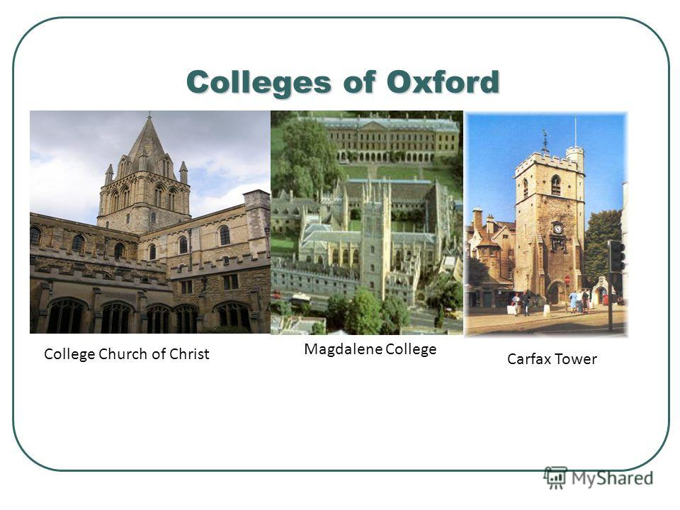 Colleges of Oxford Carfax Tower College Church of Christ Magdalene College