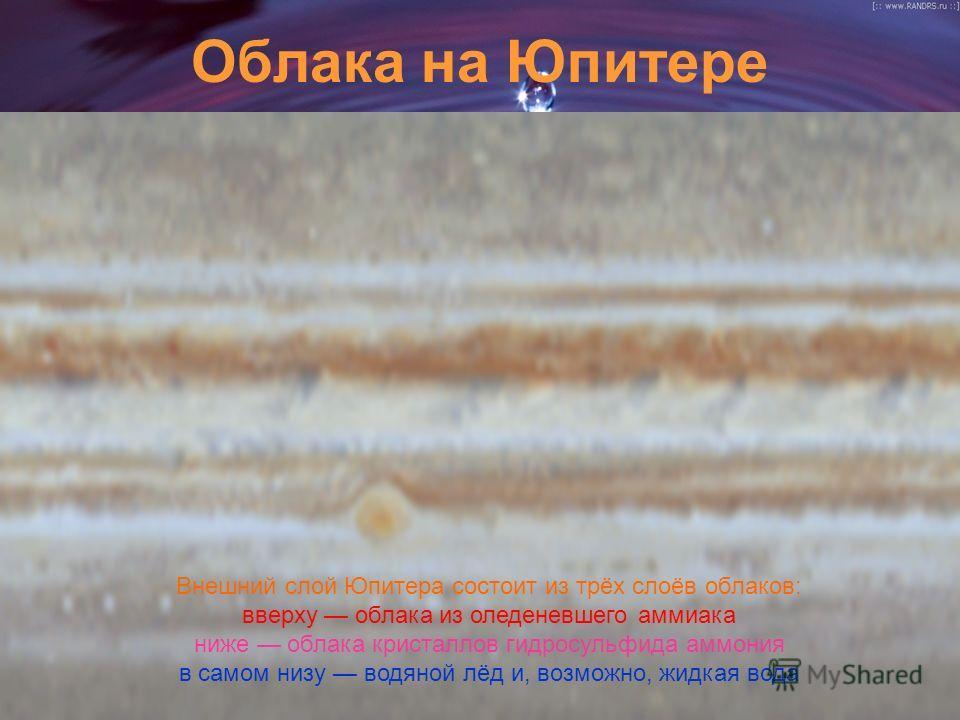 Облака на Юпитере Внешний слой Юпитера состоит из трёх слоёв облаков: вверху облака из оледеневшего аммиака ниже облака кристаллов гидросульфида аммония в самом низу водяной лёд и, возможно, жидкая вода