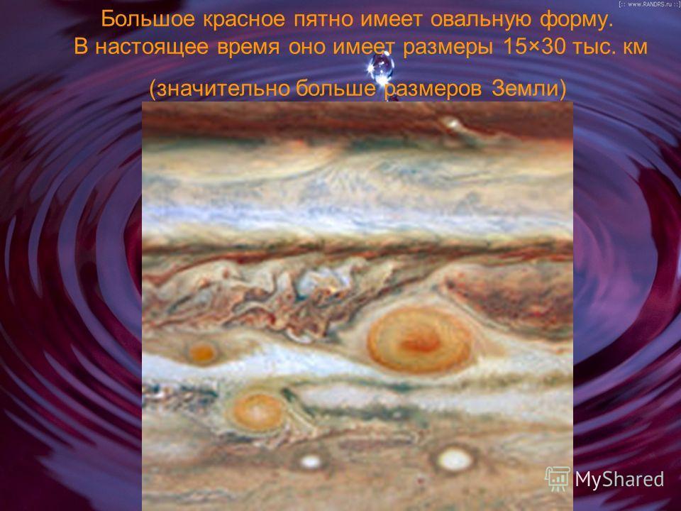 Большое красное пятно имеет овальную форму. В настоящее время оно имеет размеры 15×30 тыс. км (значительно больше размеров Земли)
