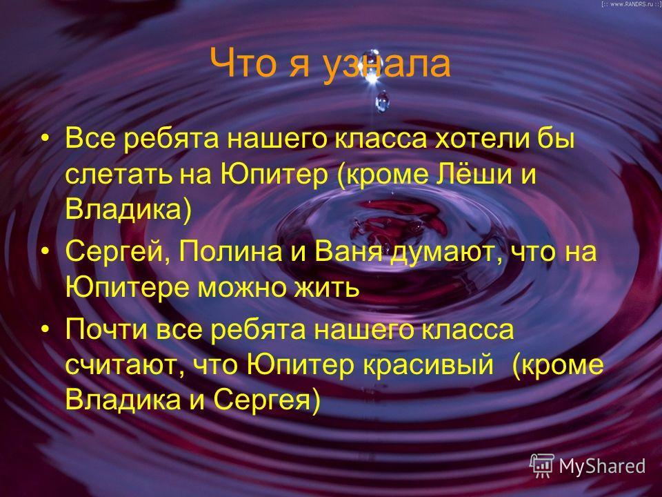 Что я узнала Все ребята нашего класса хотели бы слетать на Юпитер (кроме Лёши и Владика) Сергей, Полина и Ваня думают, что на Юпитере можно жить Почти все ребята нашего класса считают, что Юпитер красивый (кроме Владика и Сергея)