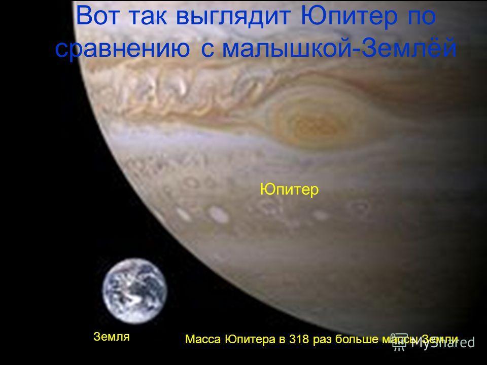 Вот так выглядит Юпитер по сравнению с малышкой-Землёй Земля Юпитер Масса Юпитера в 318 раз больше массы Земли.