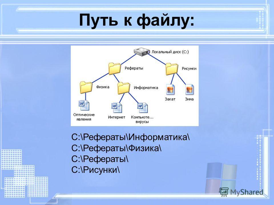 C:\Рефераты\Информатика\ C:\Рефераты\Физика\ C:\Рефераты\ C:\Рисунки\ Путь к файлу: