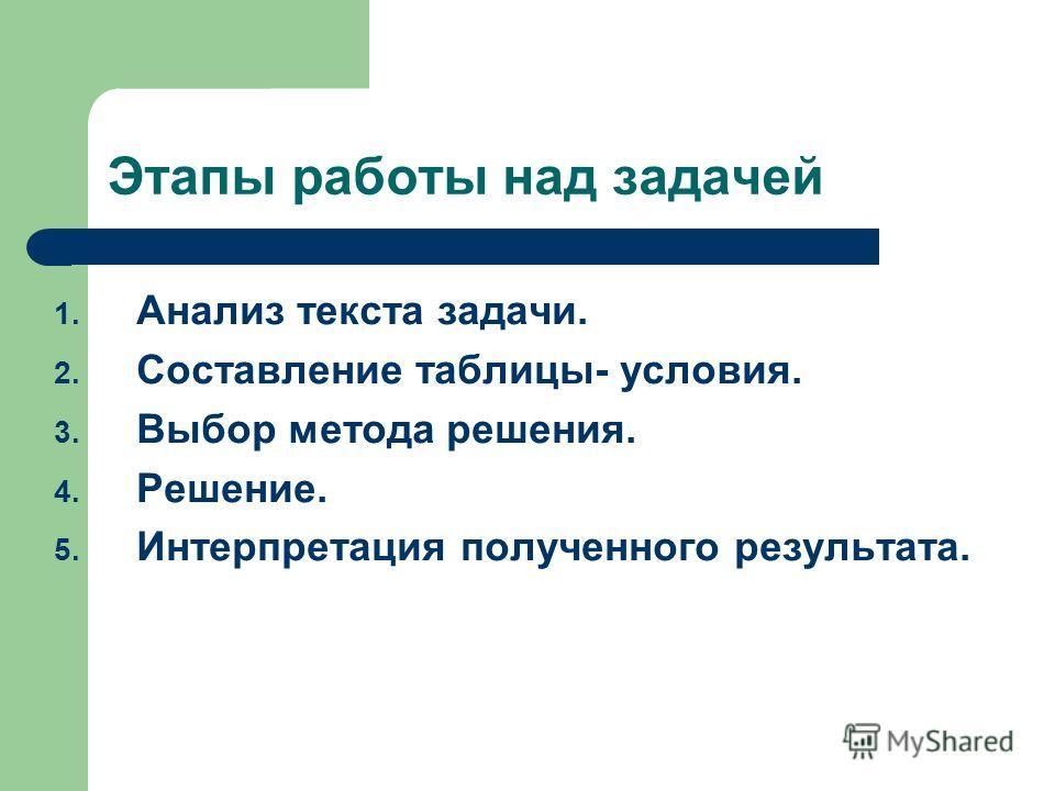 Этапы работы над задачей 1. Анализ текста задачи. 2. Составление таблицы- условия. 3. Выбор метода решения. 4. Решение. 5. Интерпретация полученного результата.