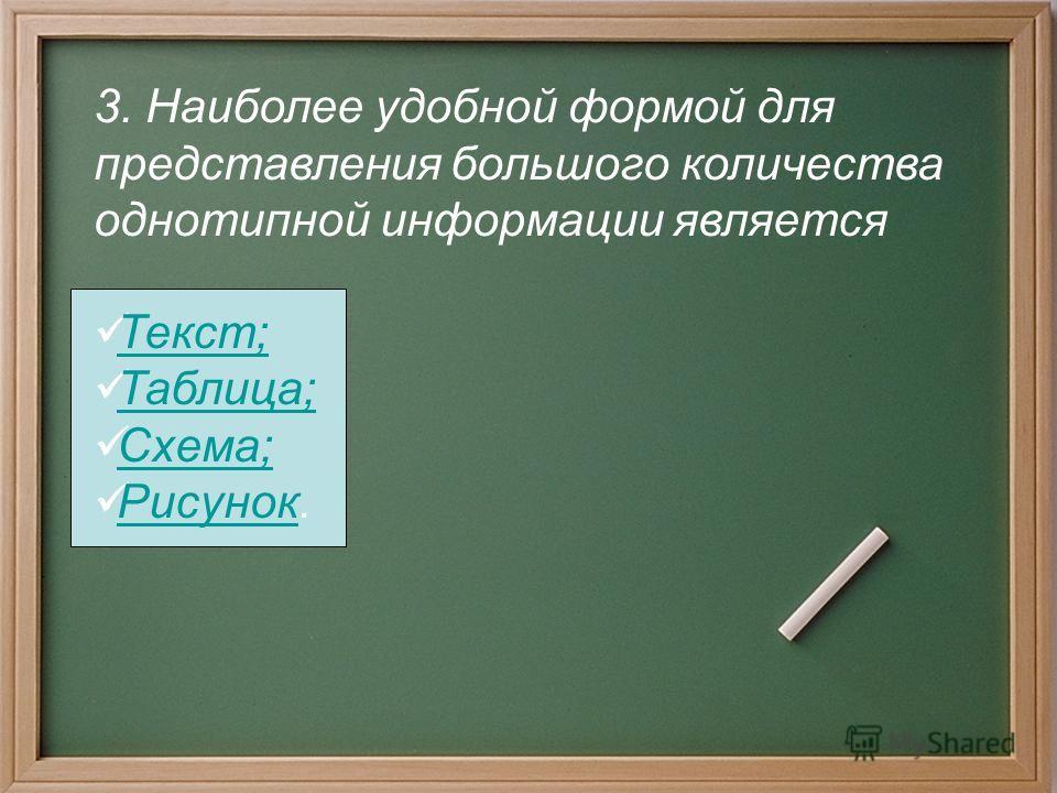 3. Наиболее удобной формой для представления большого количества однотипной информации является Текст; Таблица; Схема; Рисунок. Рисунок
