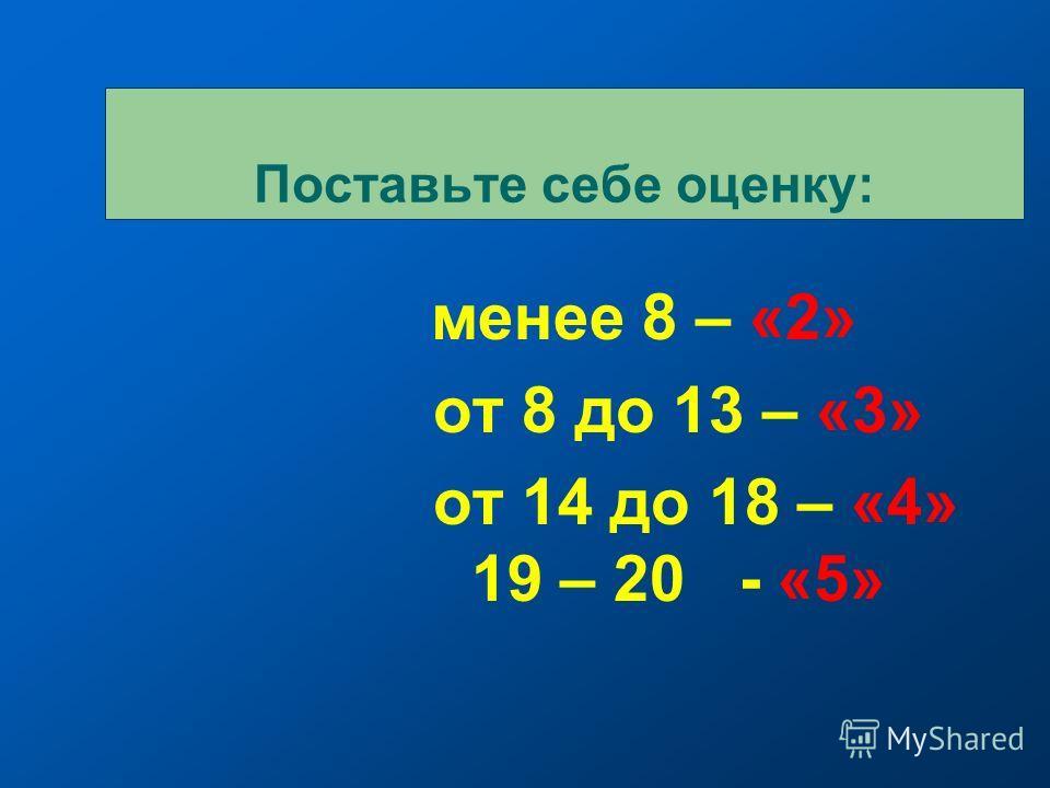менее 8 – «2» от 8 до 13 – «3» от 14 до 18 – «4» 19 – 20 - «5» Поставьте себе оценку:
